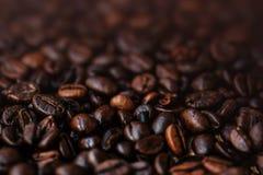 A obscuridade Roasted o papel de parede do café dos feijões de café com de cor castanha Fotografia de Stock Royalty Free