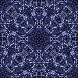 Obscuridade sem emenda - teste padrão azul com flores azuis ilustração do vetor