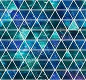 Obscuridade sem emenda - teste padrão triangular azul Fotos de Stock Royalty Free
