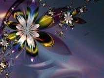 Obscurité verte pourprée colorée abstraite de fleur de fractale Images stock
