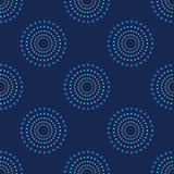 Obscurité sans couture 1 de Dots Blue Background Abstract Pattern de cercle Photos libres de droits