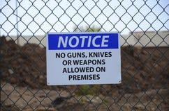 Observação! nenhumas armas Imagem de Stock
