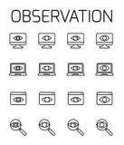 A observação relacionou o grupo do ícone do vetor ilustração do vetor