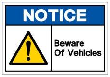 A observação tem cuidado com o sinal do símbolo dos veículos, ilustração do vetor, isolada na etiqueta branca do fundo EPS1 ilustração royalty free