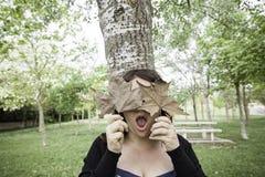 Observa a la muchacha con las hojas Foto de archivo