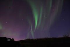 Observación de la aurora imagenes de archivo