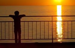 Observación de la puesta del sol Foto de archivo libre de regalías
