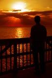 Observación de la puesta del sol, golfo de México Foto de archivo libre de regalías