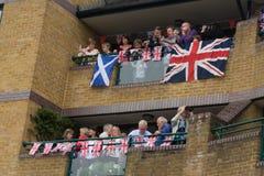 Observación del desfile del jubileo de diamante de Thames Fotos de archivo