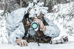 Observador na espera em algum lugar acima do círculo ártico Fotografia de Stock