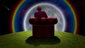 Observando a lua Ilustração do Vetor