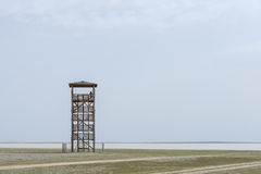 Observant. Alone observant tower and silhouette of man Stock Image