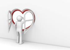 observatörfönster för 2 hjärta Arkivbilder