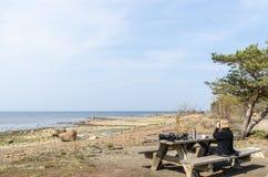 Observateur d'oiseau femelle par une table en bois photo libre de droits