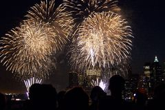 Observateurs de feux d'artifice de New York Photo stock