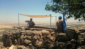 Observateurs de l'ONU d'UNDOF sur le bâti Bental Photo stock