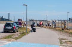 Observateurs plats à l'aéroport de Copenhague image libre de droits