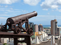 Observatiedek in het Fort Adelaide op de hoofdstad haven-Louis van Mauritius Stock Afbeelding