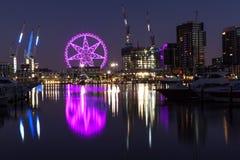 Observatiewiel in Docklands Melbourne bij nacht Stock Fotografie