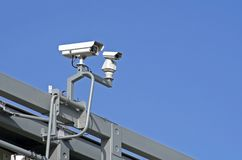Observation. Video cameras for traffic observation stock photos