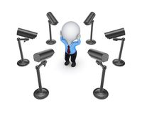 Observation cameras around 3d small person. Royalty Free Stock Photography