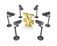 Observation cameras around symbol of Yen. Stock Images