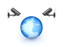 Observation cameras and big globe. Royalty Free Stock Photography