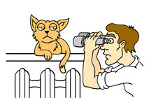 Human and cat. Observation of the cat. Vector illustration Royalty Free Stock Photo