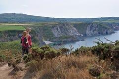 Observation de la mer au Pays de Galles Photo stock