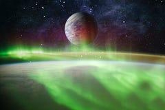Observation de la terre La vue de l'espace de la terre Panets, étoiles et galaxies Éléments meublés par la NASA Image stock