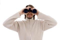 observation de sourire de mâle binoche Photo stock