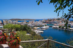 The observation deck of Agios Nikolaos Crete Greece 17th July 2014 Royalty Free Stock Image