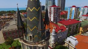 Observation deck of Astronomical clock tower in Batumi against Europe Square. Stock footage stock footage
