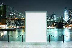 Observation deck banner night. Observation deck with blank banner and city view at night. Mock up, 3D rendering Stock Photos