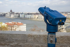 Observation deck with binoculars Royalty Free Stock Image