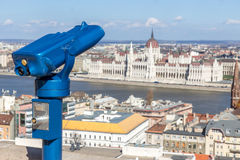 Observation deck with binoculars Royalty Free Stock Images