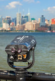 Observation deck with binoculars, view of New York city Stock Image