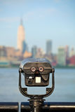 Observation deck with binoculars, view of New York city. Manhattan buildings stock photo