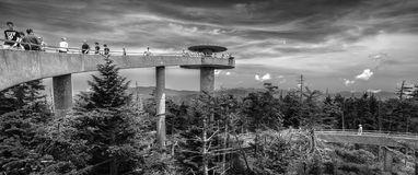 Observation deck in black and white Royalty Free Stock Photo
