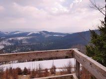 Observation deck in  Bukovel, Carpathian mountains. Observation deck carpathian mountains near bukovel forest top carpathians over ukraine ski resort amazing stock images