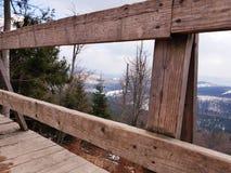 Observation deck in Carpathian mountains near Bukovel, Ukraine. Observation deck carpathian mountains near bukovel forest top carpathians over ukraine ski resort stock photography