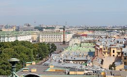 Palace Square - view from the colonnade of St. Isaac`s Cathedral. St. Petersburg. stock image