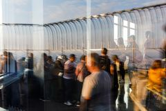 Observation deck of the Empire State Building. NEW YORK, USA - Sep 17, 2017: Abstract image of lights, shadows and reflections on the observation deck of the royalty free stock photos