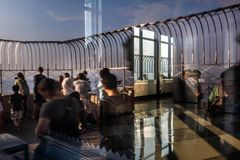 Observation deck of the Empire State Building. NEW YORK, USA - Sep 17, 2017: Abstract image of lights, shadows and reflections on the observation deck of the stock image
