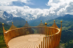 Observation deck on lookout, viewpoint in Alps mountains. Switzerland Royalty Free Stock Photos
