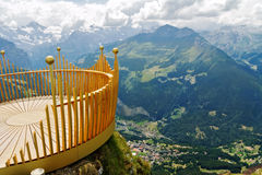 Observation deck on lookout, viewpoint in Alps mountains. Switzerland Stock Images
