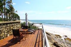An observation deck with lounge chairs, hotel Saman Villas. Sri Lanka stock photo