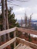 Observation deck in the mountains, ski resort Bukovel, Carpathians, Ukraine. Observation deck mountains ski resort bukovel carpathians ukraine  wood view stock images