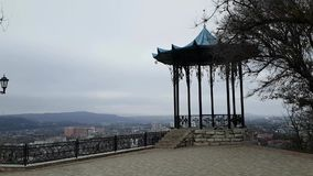 Observation deck with panoramic views of the city of Pyatigorsk. Chinese gazebo in a picturesque place