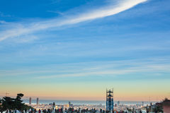 Observation deck in the park Guel during sunset. Stock Photo